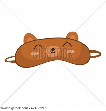 Sleep Mask With Cute Bear Face. Eye Protection Wear Accessory. Relaxation Blindfold. Cartoon Vector