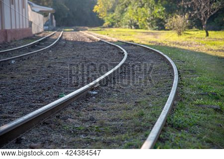 Railroad Tracks From An Old Train Station In Brazil