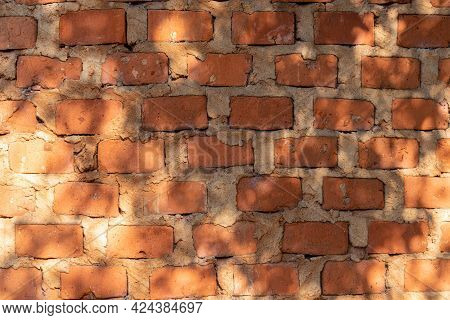 Old Abandoned Factory Brick Wall Background. Ancient Architecture. Scene Background. Architecture Ba