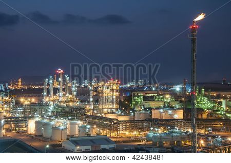 Night Scene Of Chemical Plant