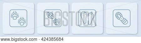 Set Line Paw Print, Rabbit And Hare Paw Footprint, Human Footprints Shoes And . White Square Button.
