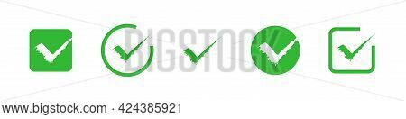 Green Checkmark Icon Set On White Background. Vector Tick Symbol Collection.