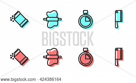 Set Line Stopwatch, Packet Of Pepper, Rolling Pin On Dough And Meat Chopper Icon. Vector