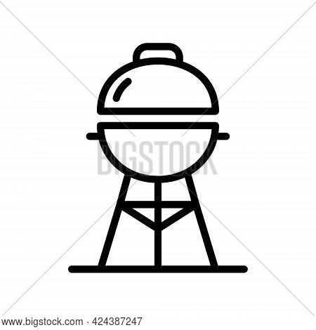 Grill Line Icon. Barbeque, Picnic, Cooking Grill Simple Vector Illustration. Outline Sign For Mobile