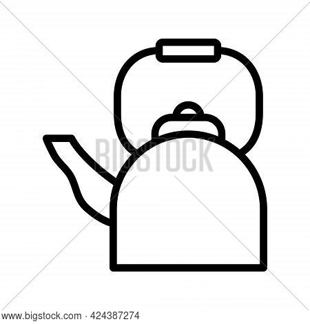 Camping Kettle Line Icon. Symbol For Travel And Tourism Simple Vector Illustration. Outline Sign For
