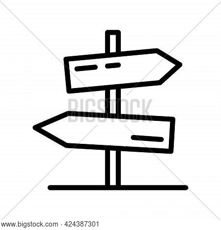 Signpost Line Icon. Information, Direction, Arrow Simple Vector Illustration. Outline Sign For Mobil