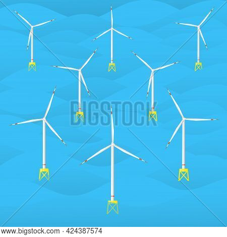 Offshore Wind Farm. Sea Wind Turbines. Wind Power Station At Sea. Seascape With Offshore Wind Genera