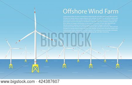 Wind Turbines In The Sea. Wind Towers In The Ocean. Offshore Wind Turbine Farm Concept. Horizontal B