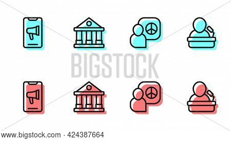 Set Line Peace Talks, Protest, Courthouse Building And Speaker Icon. Vector