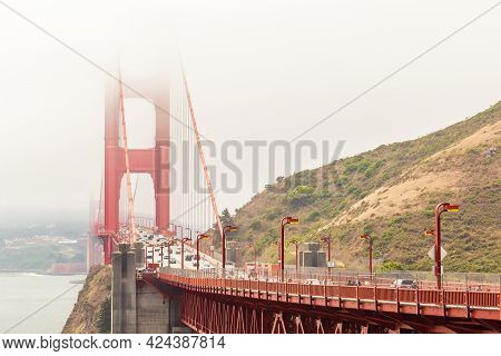 San Francisco, California, Usa - July 24, 2018: Golden Gate And The San Francisco Bay Covered By Fog