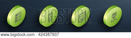 Set Isometric Line Music Playlist, Stereo Speaker, Drum Machine And Recording Studio Icon. Vector