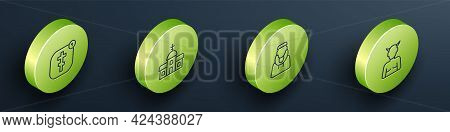Set Isometric Line Online Church Pastor Preaching, Church Building, Monk And Krampus, Heck Icon. Vec