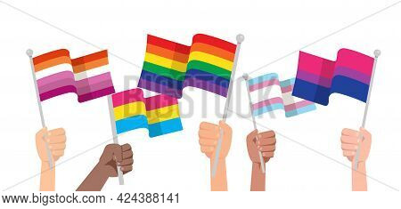 Hands With Lgbtq Flag Isolated On White Background. Protesters, Descrimination, Human Rights Concept