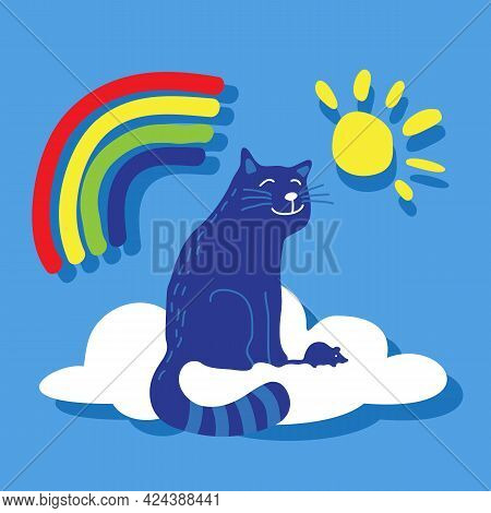 Cat And Rainbow. The Souls Of Pets In Heaven. Vector Illustration. Flat Design Element For Leaflet,