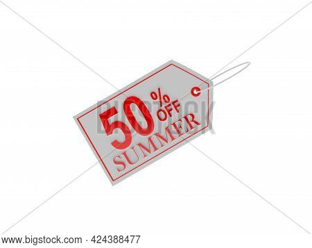 Fifty Percent Summer Discount Price Tag On White. 3d Illustration