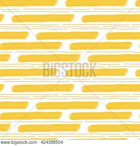 Yellow Loose Strokes And Wide And Narrow Lines Seamless Pattern, Trendy Minimalist Concept, Simple R