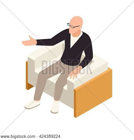 Male Psychotherapist Sitting In Armchair Talking To Client Isometric Icon Vector Illustration