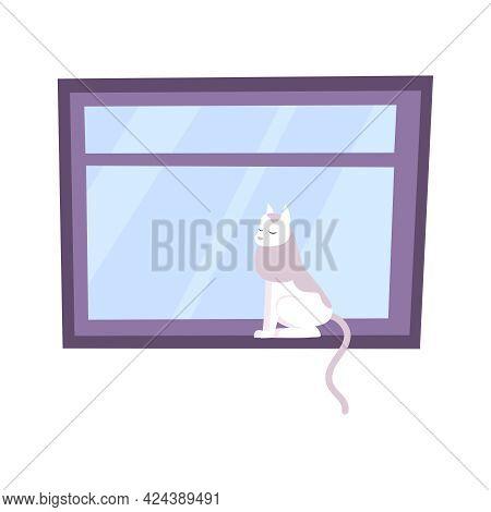 House Window Flat Icon With Cat Sitting On Windowsill Vector Illustration