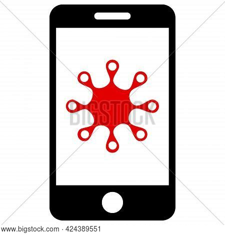 Smartphone Infection Icon With Flat Style. Isolated Vector Smartphone Infection Icon Image, Simple S