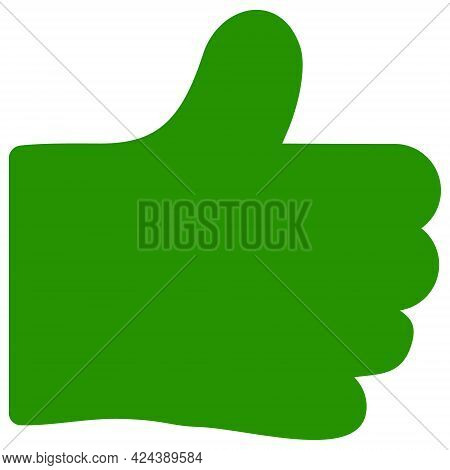 Thumb Like Icon With Flat Style. Isolated Vector Thumb Like Icon Illustrations, Simple Style.