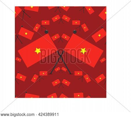 Vector Illustration Of Vietnam Pattern Flags And Red Colors Background.