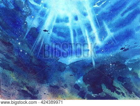 Beautiful Bright Summer Landscape. Watercolor Illustration. Ocean Underwater. Sun Rays In The Water.