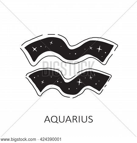 Zodiac Sign Aquarius Isolated On White Background. Zodiac Constellation. Design Element For Horoscop