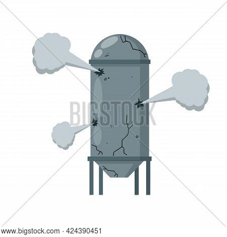 Boiler For Heating Water. Element Of House, Bath And Toilet System. Sanitary Engineering. Cartoon Fl