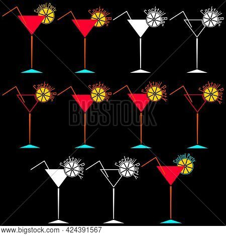 A Set Of Logo And For Cocktail Bar And Party. Martini And Cocktail Glass With Drinking Straw And Sli