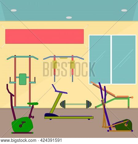Sports Club Interior With Exercise Equipment For Training And Fitness. Sports Equipment And Banner O