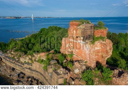 View From The Height Of The Fort Emperor Paul 1 In Kronstadt, The Gulf Of Finland, The Island Of For