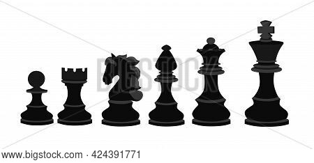 A Chess Set In Black On A White Isolated Background. World Chess Day. Banner For The Holiday In The
