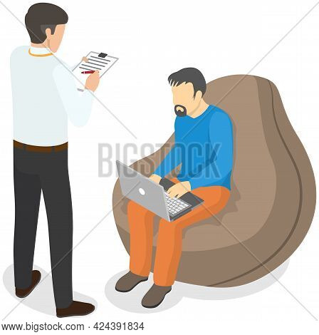Man Sitting And Typing On Laptop. Male Boss Standing Near Employee And Controlling Process Of Workin
