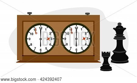 Chess And A Watch For Playing Chess. World Chess Day. Banner For The Holiday In The Chess Style. Vec