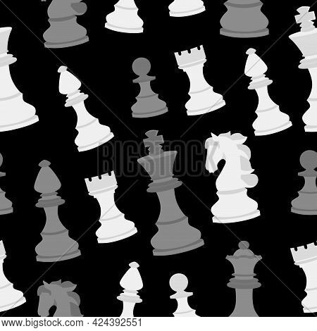 Vector Infinite Pattern Of White Chess On A Black Background. World Chess Day. Banner For The Holida
