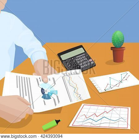 Businessman Working With Documents Sitting At Table Checks Results Of Financial Activities. Male Han