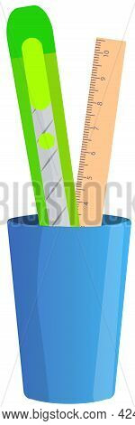 Pen Holder Dark Blue With School Supplies Or Office Equipment. Pen And Stationery Knife, Ruler In Ve