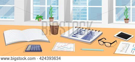 Analyst Workplace With Data Reports, Documents With Information And Statistics, Stationery, Notebook