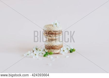 Tasty French Macarons With Spring Blossom On A Pastel Background.  Place For Text.