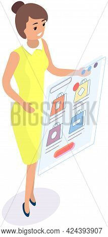 Shopping, Sale, Consumerism And Online Store Concept. Woman Works In Field Of Targeting And Online S