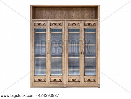 Elegant Large Cabinet Made Of Light Toned Veneer And Solid Ash Timber With Decorative Glass On Doors
