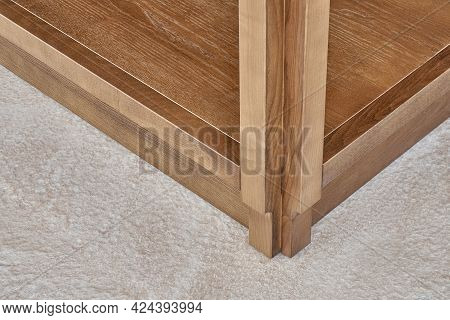 Furniture Set Of Veneer And Solid Ash Timber With Acryl Stone Countertop With Figure Edge In Summer