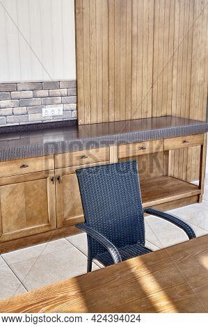 Stylish Contemporary Summer Kitchen With New Furniture Made Of Veneer And Solid Ash Timber On Large