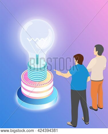 People Work With Information And Data. Idea Symbol In Form Of Lightbulb. Colleagues Communicate And