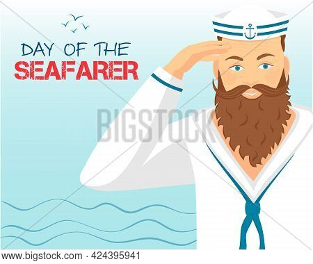 A Bearded Sailor In Uniform Salutes With His Right Hand. Text, Vector Illustration In Flat Style For