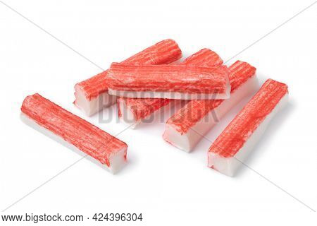 Red Japanese Surimi sticks close up isolated on white backgropund