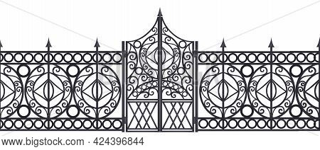 Iron Vector Gate, Wrought Metal Fence Seamless Border Isolated On White, Mansion Antique Entrance. S