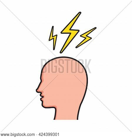 Human Head With Thunderbolt Icon. Concept Of Stress Chaotic Thought Process. Flat Vector Illustratio