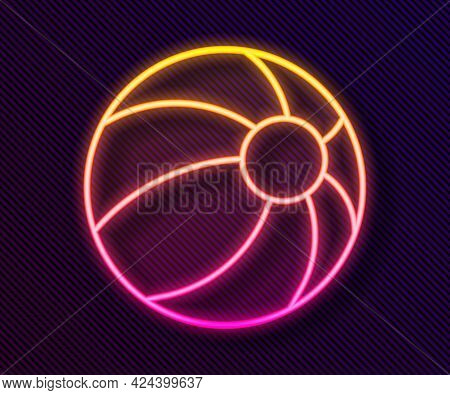 Glowing Neon Line Beach Ball Icon Isolated On Black Background. Children Toy. Vector