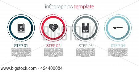 Set Coffee Book, Lovers, Bag Coffee Beans And Filter Holder. Business Infographic Template. Vector